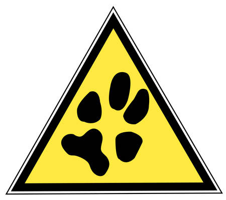 yellow and black triangular traffic sign with a paw print Иллюстрация