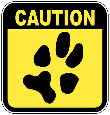 yellow and black caution sign with paw print - no pets Иллюстрация
