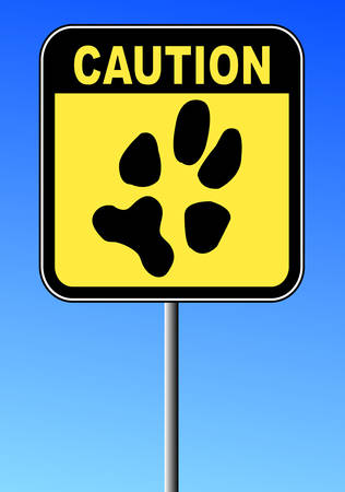 yellow and black caution sign with paw print on blue sky Иллюстрация
