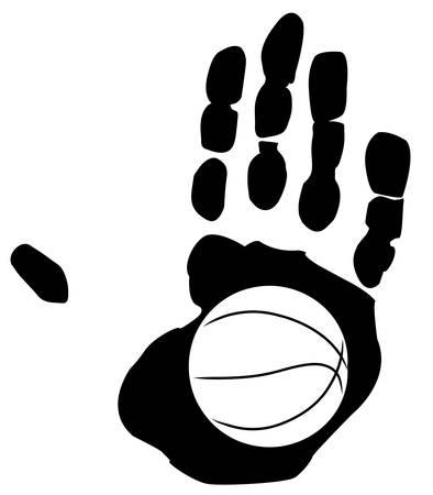 schets van basketbal in de afdruk van een hand