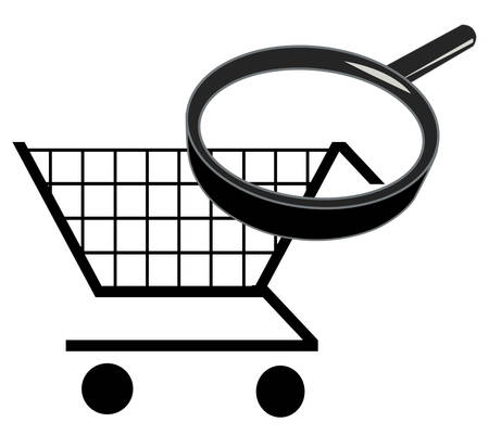 zoom in on shopping cart - searching for the best prices Illustration