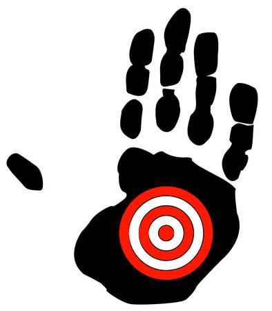 hand print with target symbol - getting bullied, specific goal