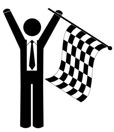 business man or figure waving checkered flag - winner