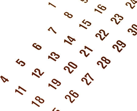 close up of thirty day calendar isolated on white