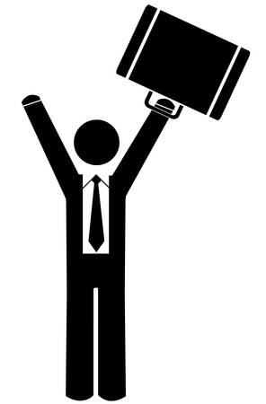 business man or figure celebrating with briefcase up in the air