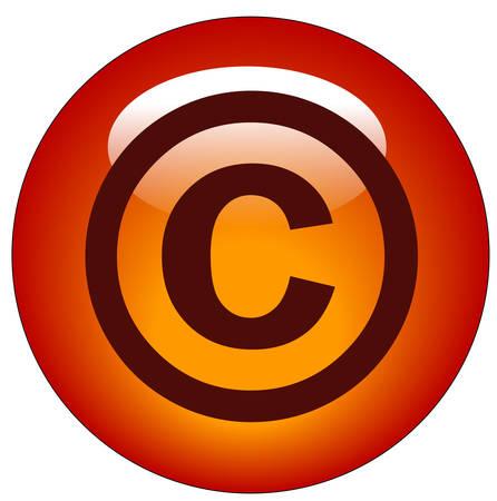 Rode auteursrecht web knop of pictogram - afbeelding