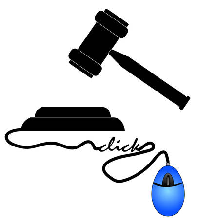 legal gavel connected to mouse - online justice