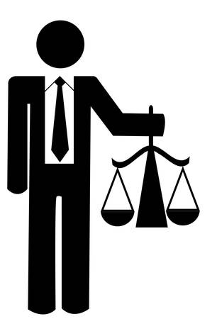 business man or figure holding up scales of justice