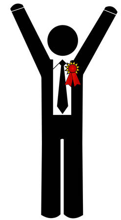 business man or person with first place ribbon Çizim