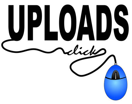 mouse connected to the word upload - internet uploads