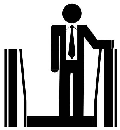 에스컬레이터 타고 비즈니스 남자 또는 그림 일러스트