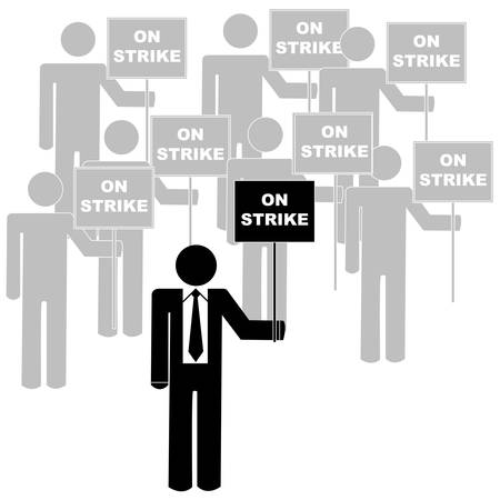 group of people on strike with a leader Illustration