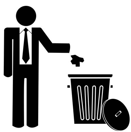 business man throwing garbage into a trash can - no littering  Иллюстрация