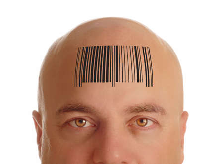 man with bald head stamped with a bar code - identity