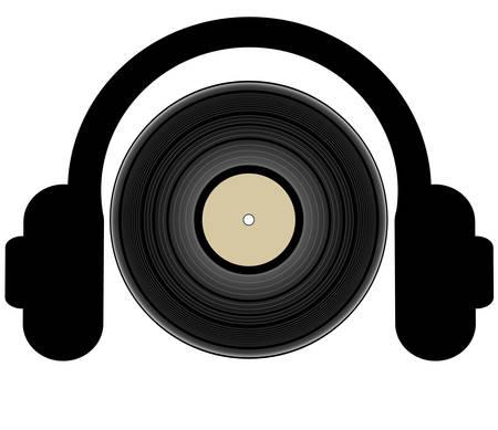 headphones listening to a record lp - illustration Vettoriali