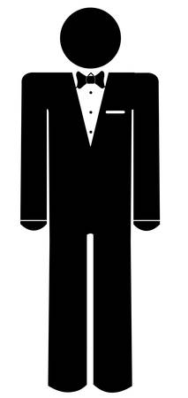 stick man or figure wearing a tuxedo - illustration