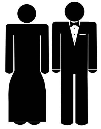 공식적인 착용 - 턱시도와 드레스 입은 남자와 여자 인물