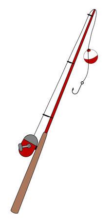 フック - イラストと浮き釣りロッド