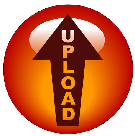red upload arrow web button or icon