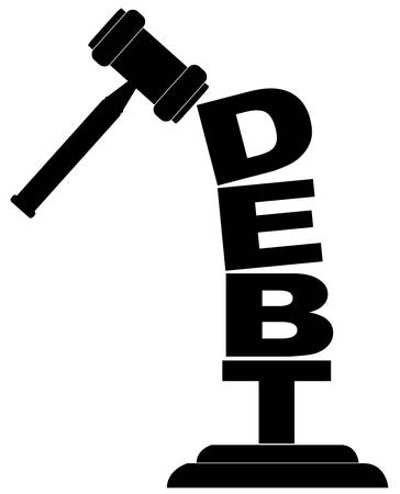 gavel hitting the word debt isolated on white Ilustrace