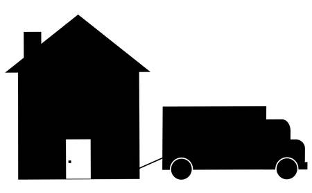 truck towing house away - foreclosure or moving