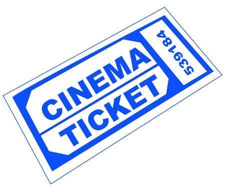 blue numbered cinema admission ticket - illustration