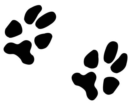 two black paw prints from a dog - illustration