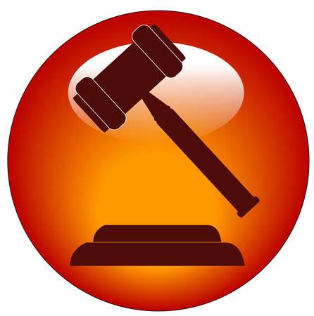 赤いボタンのアイコンまたはアイコン小槌 - 競売人又は裁判官のハンマー 写真素材 - 3712293