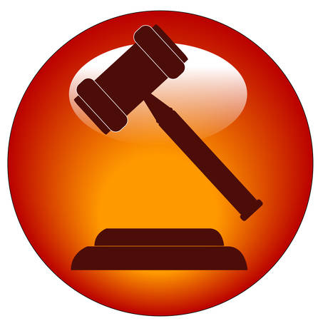 red button or icon of a gavel - hammer of judge or auctioneer Stock Illustratie