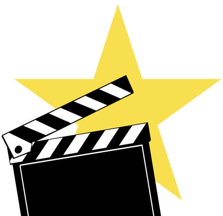 Opened movie clapboard used by movie directors with bright star behind