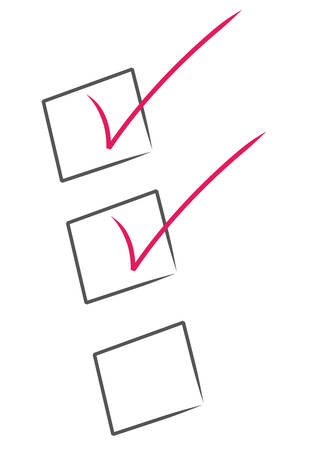 red check marks inside black boxes - check list partially complete Ilustrace