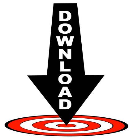 빨간 목표 - 다운로드 대상을 가리키는 화살표 안쪽을 다운로드하십시오. 일러스트
