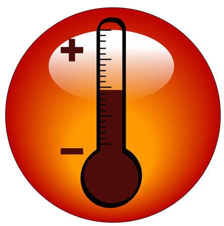 round thermometer icon or button - illustration Ilustração