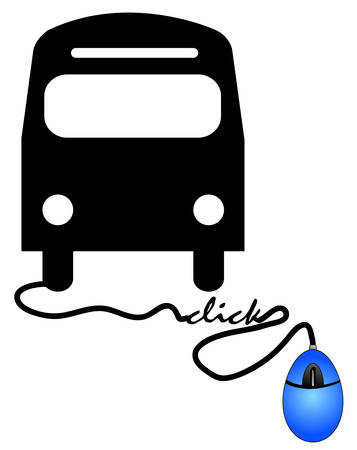 concept of ordering a bus ticket online - bus connected to computer mouse