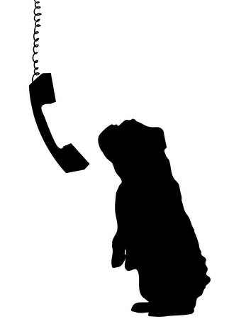 dog sitting up begging with phone receiver dangling down beside