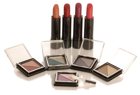 collection of lipsticks and eyeshadows isolated on white background 版權商用圖片