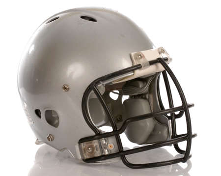 grey football helmet with reflection on white background Фото со стока
