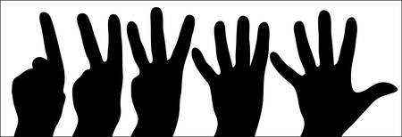 tellings handen van één tot vijf op witte achtergrond - afbeelding  Stock Illustratie