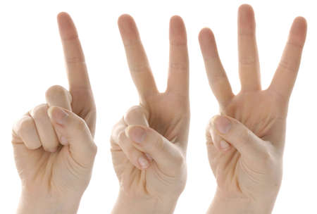 fingers: counting hands from one to three on white background Stock Photo