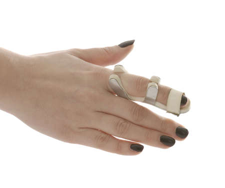 broken finger in a splint isolated on white background Stock Photo - 6648950