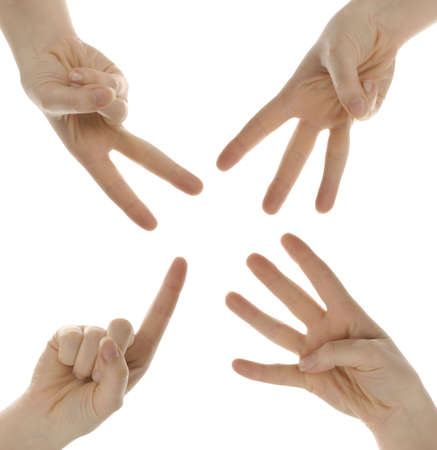 fingers counting one two three four isolated on white background Stock Photo - 6685465