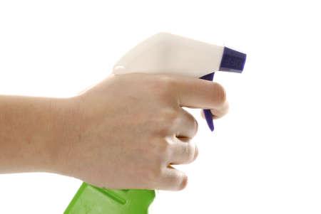 tetik: hand holding trigger of spray bottle isolated on white background