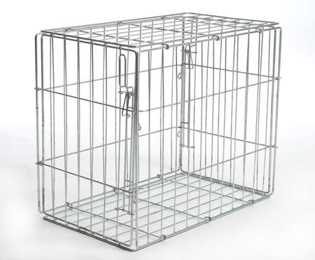 wire dog crate or animal cage with reflection on white background
