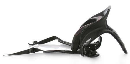 sport motocross neck brace with reflection on white background Stock Photo - 7684443
