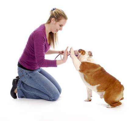 woman teaching english bulldog