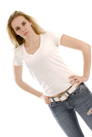 young woman standing with hands on hips and determined expression on white background