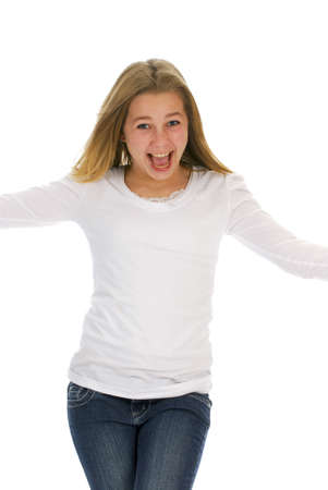 happy teenage girl with excited expression on white background