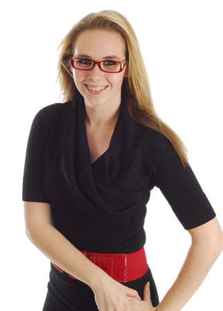 woman wearing braces and glasses on white background