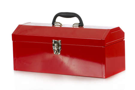 red tool box isolated on white background Foto de archivo