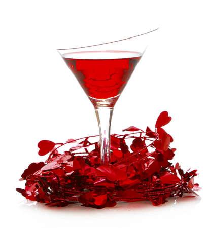 pocion: poción de amor - Cóctel de valentines day aislado sobre fondo blanco
